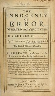 Cover of: The innocency of error asserted and vindicated in a letter to --