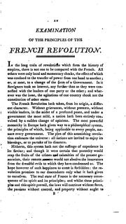 Cover of: An examination of the principles of the French Revolution