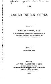 Cover of: The Anglo-Indian codes