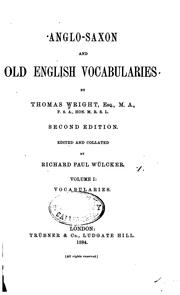 Cover of: Anglo-Saxon and Old English vocabularies