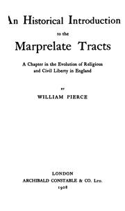 Cover of: An historical introduction to the Marprelate tracts | William Pierce