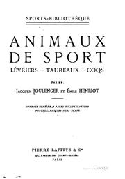 Cover of: Animaux de sport