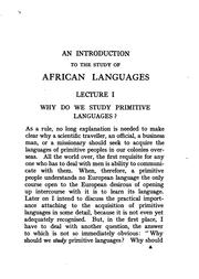 Cover of: An introduction to the study of African languages |