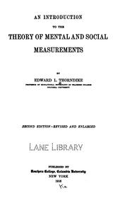 An introduction to the theory of mental and social measurements by Thorndike, Edward L.