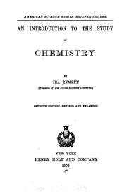 Cover of: introduction to the study of chemistry | Ira Remsen