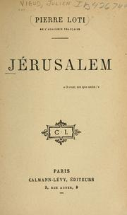 Cover of: Jérusalem