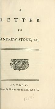 Cover of: A letter to Andrew Stone, Esq |