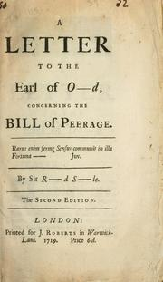Cover of: A letter to the Earl of Oxford concerning the Bill of Peerage