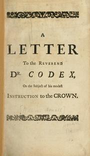 Cover of: A letter to the Reverend Dr. Codex
