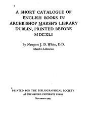 short catalogue of English books in Archbishop Marshs library, Dublin