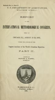 Cover of: Report | International Meteorological Congress (1893 Chicago, Ill.)