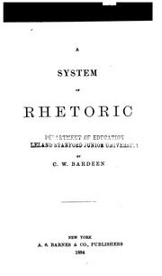 Cover of: system of rhetoric | C. W. Bardeen