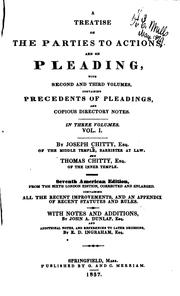 A treatise on the parties to actions, and on pleading by Joseph Chitty