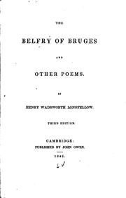 Cover of: The belfry of Bruges and other poems