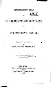 Cover of: Boenninghausen's Essay on the homoeopathic treatment of intermittent fevers