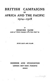 Cover of: British campaigns in Africa and the Pacific, 1914-1918