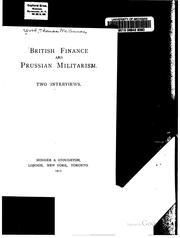 Cover of: British finance and Prussian militarism. | Thomas McKinnon Wood