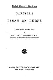 Cover of: Carlyle's essay on Burns