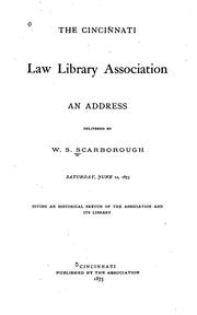 Cover of: Cincinnati law library association | W. S. Scarborough
