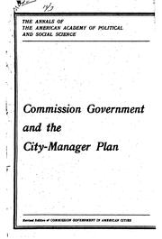 Cover of: Commission government and city-manager plan