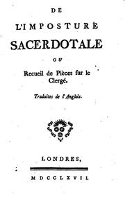 Cover of: De l'imposture sacredotale
