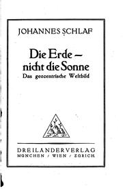 Cover of: Die Erde