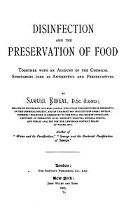 Cover of: Disinfection and preservation of food