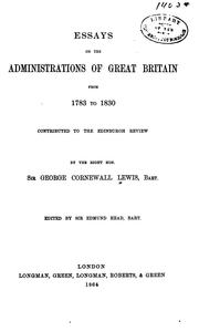 Cover of: Essays on the administrations of Great Britain from 1783 to 1830