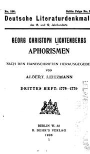 Cover of: George Christoph Lichtenbergs Aphorismen