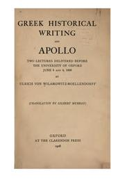 Cover of: Greek historial writing, and Apollo