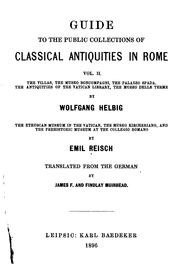 Cover of: Guide to the public collections of classical antiquities in Rome
