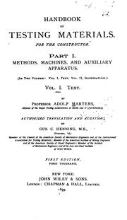 Cover of: Handbook of testing materials