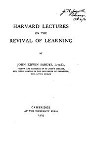 Cover of: Harvard lectures on the revival of learning