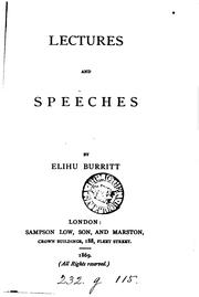 Cover of: Lectures and speeches