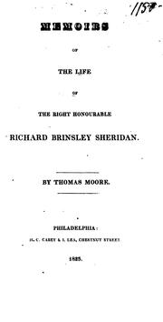 Cover of: Memoirs of the life of the Right Honorable Richard Brinsley Sheridan