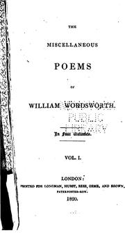 Cover of: The miscellaneous poems of William Wordsworth: in four volumes.