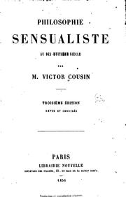 Cover of: Philosophie sensualiste au dix-huitieme siecle