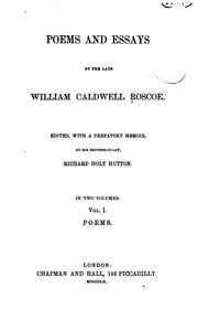 Cover of: Poems and essays | William Caldwell Roscoe