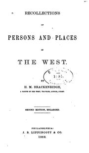 Cover of: Recollections of persons and places in the West