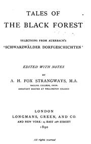 Cover of: Tales of the Black Forest: selections from Auerbach's 'Schwarzwälder dorfgeschichten'