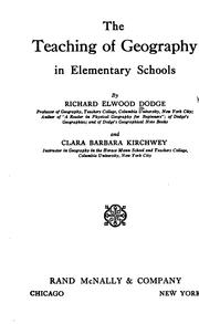 Cover of: The teaching of geography in elementary schools