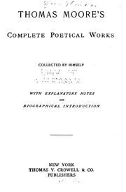 Cover of: Thomas Moore's complete poetical works