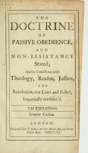 Cover of: The doctrine of passive obedience, and non-resistance stated