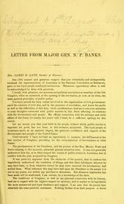 Cover of: Letter from Major Gen. N. P. Banks