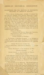 Cover of: Suggestion for the printing of documents relating to American history