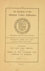 Cover of: incident of the Alabama claims arbitration ... | Ralph Earl Prime