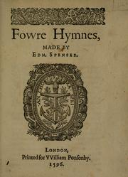 Cover of: Fovvre hymnes, made by Edm. Spenser
