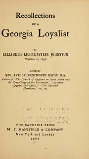 Cover of: Recollections of a Georgia loyalist | Elizabeth Lichtenstein Johnston