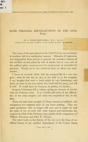 Cover of: Some personal recollections of the civil war