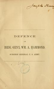 Cover of: Defence of Brig: Gen'l Wm. A. Hammond